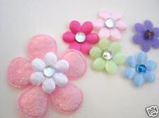 200 Small Satin/Felt Flower & Rhinestone Jewel Center Applique/Craft/Trim L91