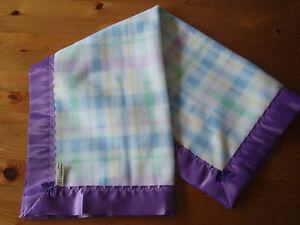 Handmade Baby Soft Checked fleece-Pretty Grape Coloured Satin blanket binding
