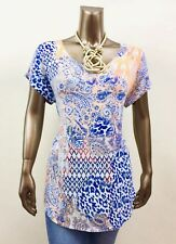 CHICO'S *NEW SIZE 2 (L) MULTI PAISLEY SHORT SLV LOOSE TOP