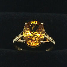 Natural 9*11mm Oval Citrine Good Diamond Gorgeous Fine Ring In 14k Yellow Gold