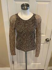 Rag & Bone Tweed Crewneck Sweater w/ Loose Knit Sleeves, Size XS