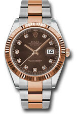 Rolex Datejust 41mm Steel & Rose Gold Fluted Bezel Chocolate Diamond Dial 126331