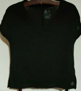 REEBOK Black V-Neck SS Mesh Back T-Shirt (Women's Medium)