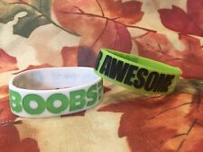 Boobies Rule!!! Silicone Wristband Lot of 2  GOT BOOBS?  BOOBIES ARE AWESOME
