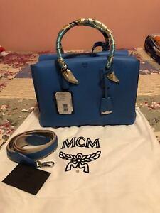 MCM Medium Milla Tote Tile Blue Leather Satchel