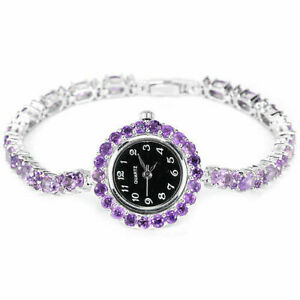 Watch Purple Amethyst Genuine Natural Gemstone Sterling Silver 7 1/4 Inch