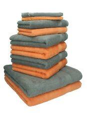 """Lot de 10 serviettes """"Premium"""" orange et gris anthracite, 2 serviettes de bain,"""