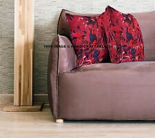 Maroon Velvet Pillow Case Bird Print Decorative Throw Floor Indian Cushion Cover