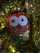 GLITTERY OWL GLASS BAUBLE