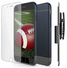 iPhone 6S Ultra Slim Thin Hard [Slider Case w/ Belt Clip Holster] Blue / Gray