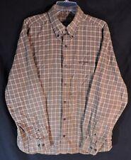 Eddie Bauer LARGE Flannel Cotton Shirt Brown White Plaid Long Sleeve WARM A+