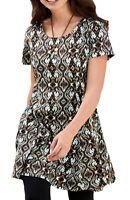 UK Plus Sizes 26 - 38 Ladies Long Tunic Top or Dress Large Sizes Turquoise Brown