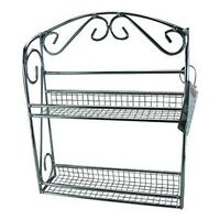 2 TIER CHROME SPICE HERBS RACK JAR HOLDER WALL MOUNTED / FREE STANDING