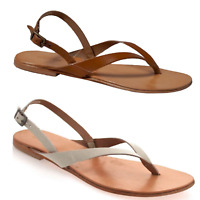 LADIES WOMEN  FLIP FLOPS TOE POST BUCKLE STRAP SUMMER LEATHER SANDALS WHITE TAN
