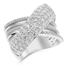 14K White Gold Pave Diamond Wide 3Ct Statement Cocktail Right Hand Ring