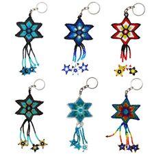 Shooting Star Key Ring Chain Glass Artisan Beads Lot Wholesale 6 Pack Guatemala