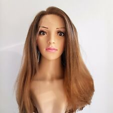 Synthetic Hand Tied Silky Straight Layered Lace Front Light Golden Brown Wig 18""