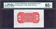 US 15c Fractional Currency Specimen Red Back FR 1273-54sp PMG 65 EPQ Gem Ch CU