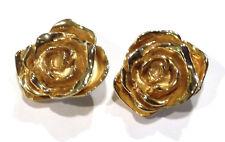 Bijou alliage doré boucles d'oreilles clips fleurs George Rech earings