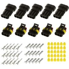 5 Kits 3 Pin Way Sealed Waterproof Electrical Wire Connector Plug Car Auto