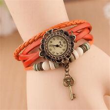 Reino Unido Ladies aspecto de cuero Reloj Vintage encanto Clave multicapa brazalete naranja 8009