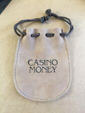 """Faux Suede Drawstring Pouch Coin Purse/bag Embossed """"Casino Money"""" 4""""x5"""""""