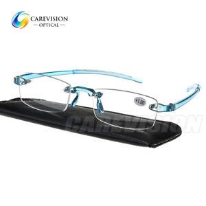 New Light Weight Rimless Reading Glasses Men's Women's Reader Blue +1.00~+4.00
