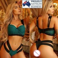 Women's Padded Push Up Underwire Bra & G String Set Sexy Lingerie Green Red