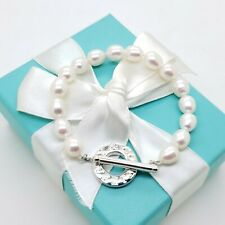 Vintage Tiffany & Co. Sterling Silver Pearl 7.5' In Toggle Bracelet Pouch & Box