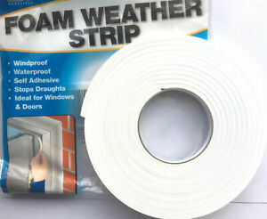 DRAUGHT EXCLUDER FOAM WEATHER TAPE STRIP SEAL FOR DOORS WINDOWS INSULATION WHITE