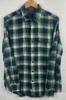 Woolrich Plaid Flannel Long Sleeve Button Front Blue Shirt Mens Size L
