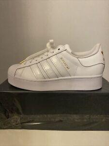 Woman's Adidas Originals Superstar Bold Platform Trainers Size 7 UK White Gold