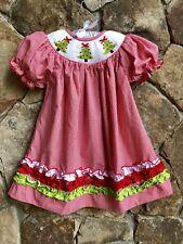 Smocked A Lot Girls Christmas Monogrammed Romper Jumper Red Corduroy Dress