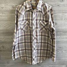 VTG Genuine Roebucks Mens XL Shirt Lightweight Western Plaid Snap Down Gray