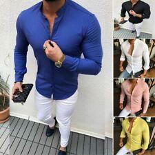 Moda Para Hombre Calce Entallado Cuello en V manga larga Músculo Tee camiseta informal tops Blusa