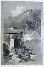 LAKE TAHOE & MOUNT TALLAC El Dorado Forest ~ 1888 Landscape Art Print Engraving