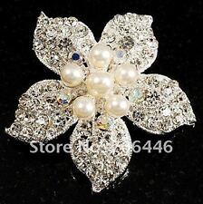 Silver Plated Rhinestone Crystal and Cream Pearl Corsage Bouquet Flower Brooch
