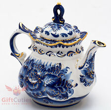 Porcelain Gzhel teapot coffee server gold plated handmade in Russia 1 Liter