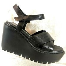 Opening Ceremony Romee Black Strappy Leather Wedge Platform Sandals US 10 / 41