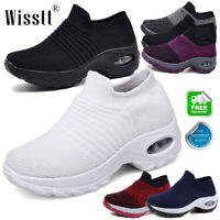 Women's Trainers Air Cushion Slip On Breathable GYM Sneakers Sport Walking Shoes