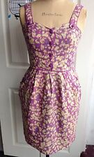 Darling Sinead 50's Style Purple Animal Print Linen Sun Dress M 12 BNWT Was £65