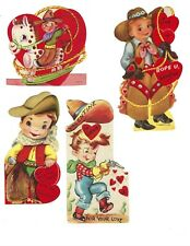 Vintage Valentines 1940s Wwii Era - Cowboy Themed - Signed - Lot of 4