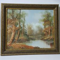 "Vintage Signed D.Perry Framed Oil Painting Trees on Water Pond Seascape 20""X19"""
