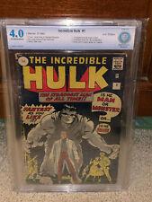 Hulk #1 CBCS 4.0 Marvel 1962 Avengers! Rare UK! Free CGC sized mylar! K10 cm