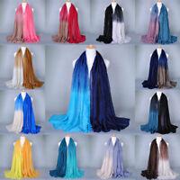 Lady Women Gradient Scarf Stole Wrap Shawl Soft Cotton Scarves Cotton Linen Silk