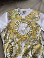 Gianni Versace Jeans Original New Jumper Sweater M Baroque White Yellow Rare