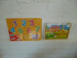 NEW 2x Childrens Wooden Puzzles