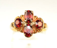 VINTAGE OSTBY & BARTON 10K YELLOW GOLD 4 GARNET CLUSTER RING SIZE 7.75