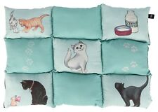 Patchwork Blanket Cushion Quilted Non Slip Cat Bed with Catnip Pocket 70 x 55cm