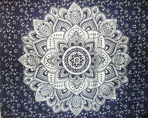 Silver Ombre Tapestry Navy Blue Lotus Mandala Wall Hanging Cotton Boho Bedspread